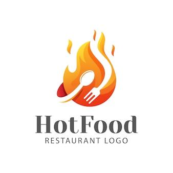 Logotipo moderno de restaurante de comida caliente, barbacoa, logotipo de parrilla de barbacoa