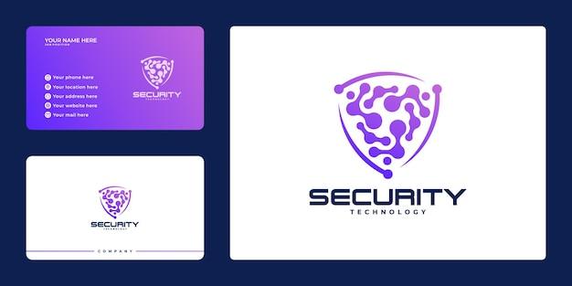 Logotipo moderno de seguridad cibernética con escudo y tarjeta de visita, concepto de escudo de seguridad, seguridad en internet,