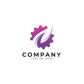 Logotipo moderno de la tecnología de la hoja y del engranaje de la naturaleza