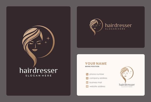 Logotipo de moman de belleza elegante. el logotipo se puede utilizar para peluquería, salón de belleza, corte de pelo, cuidado de la belleza.