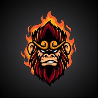 Logotipo de monkey king e sport