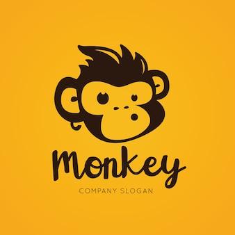 Logotipo del mono, plantilla del logotipo del chimpancé.