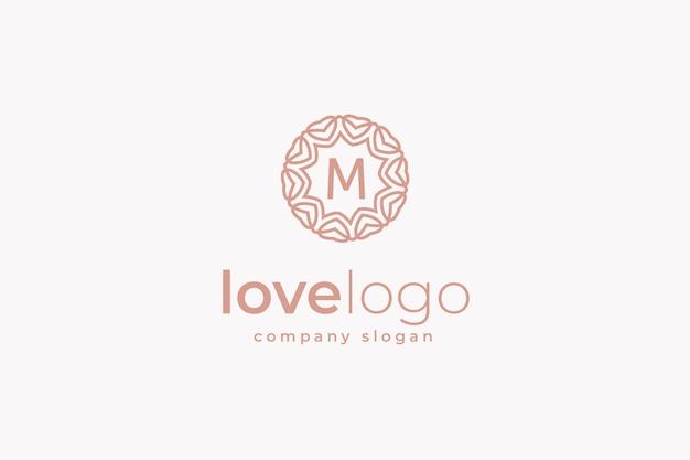 Logotipo de monograma de amor