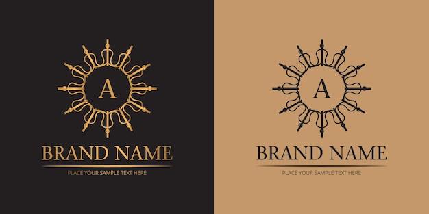 Logotipo de monograma de boda de lujo