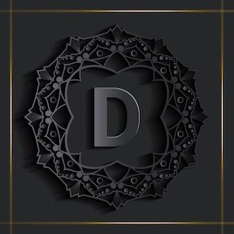 Logotipo de monograma de efecto dorado de damasco oscuro