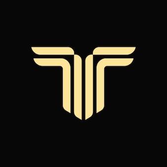 Logotipo del monograma de la letra t del alfabeto