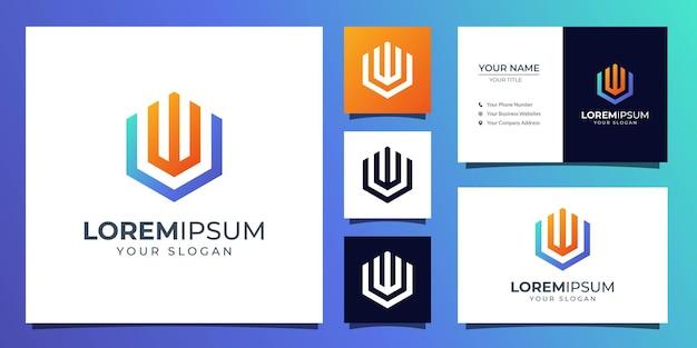 Logotipo de monograma letra u y w con plantilla de tarjeta de visita