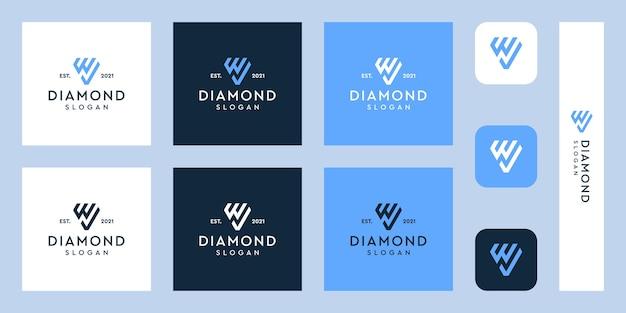Logotipo del monograma de la letra w y marca de verificación con formas abstractas de diamantes