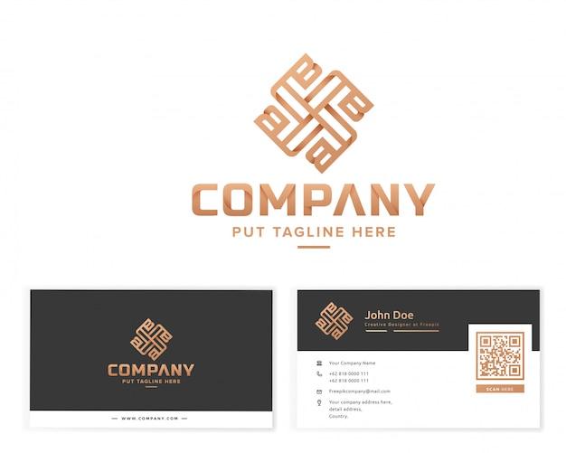 Logotipo de monograma de lujo con tarjeta de visita de papelería