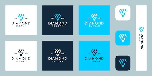 Logotipo de monograma y marca de verificación con formas abstractas de diamantes