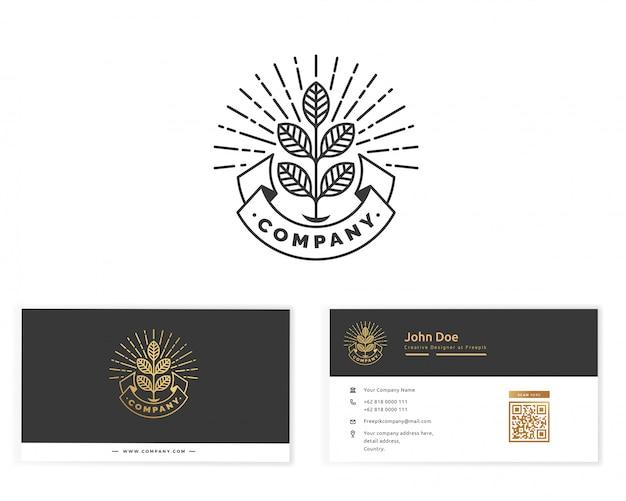 Logotipo de monograma de planta con tarjeta de visita de papelería