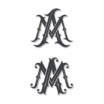Logotipo de monograma vintage ma.