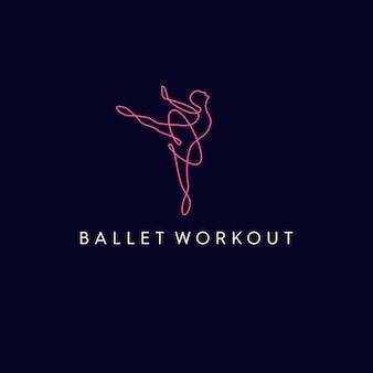 Logotipo de monolina de entrenamiento de ballet