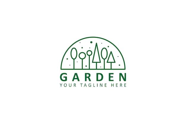 Logotipo de monoline de ambiente de jardín
