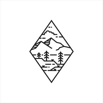 Logotipo de monoline emblema de montaña simple