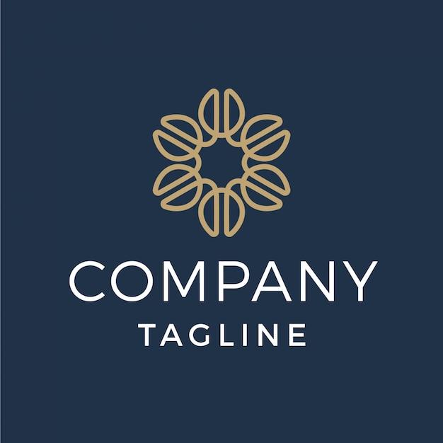 Logotipo de monoline de flor de grano de café de lujo