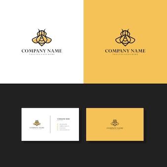 Logotipo de monoline minimalista de abeja