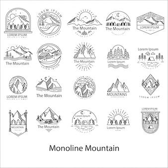 Logotipo de monoline mountain