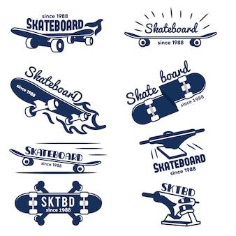 Logotipo del monopatín de hipster y insignias colección