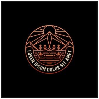 Logotipo de montaña emblema emblema línea vintage esquema diseño monoline