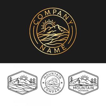 Logotipo de montaña con estilo de contorno