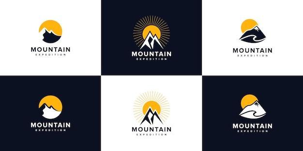 Logotipo de montaña moderno con concepto único, montaña, arte lineal, contorno, colección de diseño de logotipos