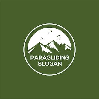 Logotipo de montaña de paragliding