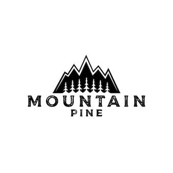Logotipo de montaña con pinos, cedros, plantilla de diseño de logotipo de aventura al aire libre