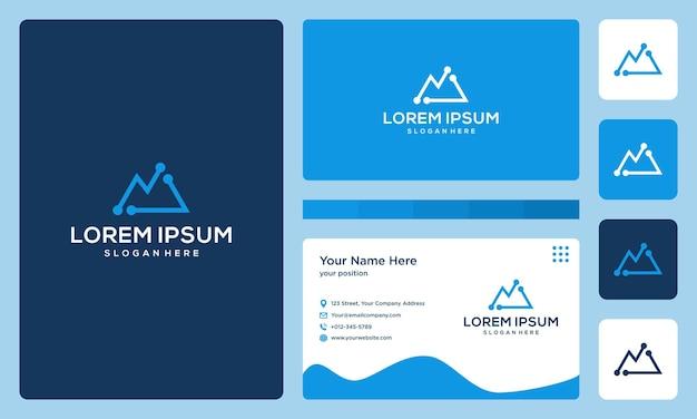 Logotipo de montaña con tecnología y modelos de inversión. tarjeta de visita