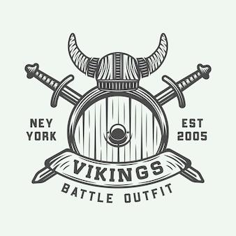 Logotipo motivacional de vikingos, etiqueta