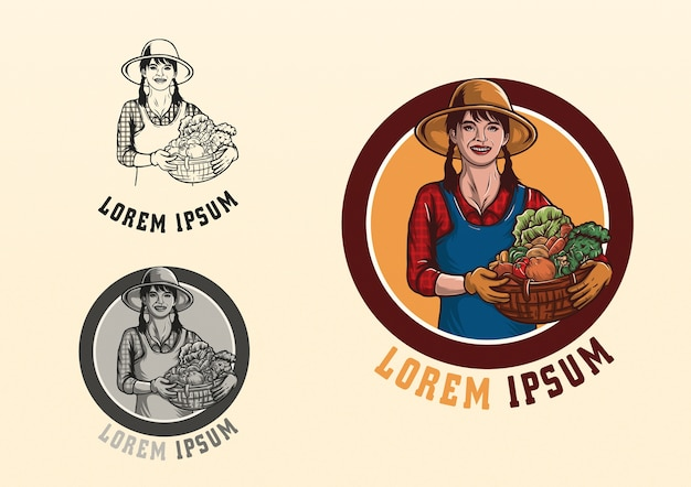 Logotipo de la muchacha del granjero de la mascota del carácter