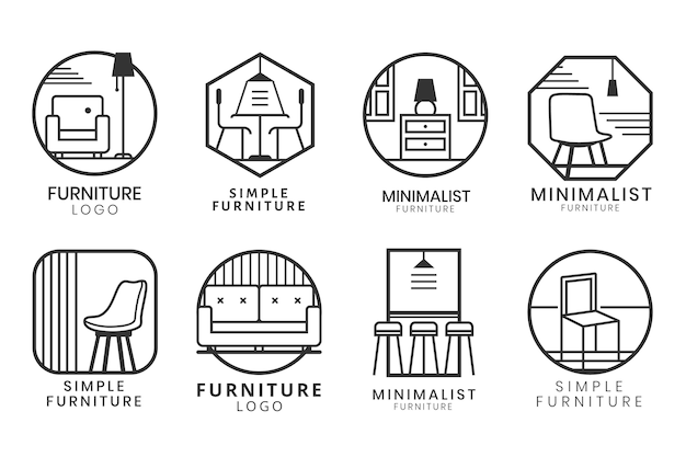 Logotipo de muebles de diseño minimalista.