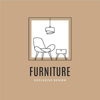 Logotipo de muebles con elementos minimalistas.