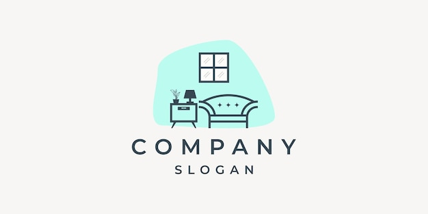 Logotipo de muebles para el hogar con elementos minimalistas.