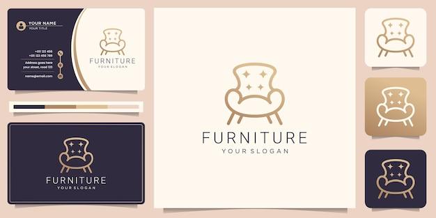 Logotipo de muebles minimalistas con silla y tarjeta de visita.