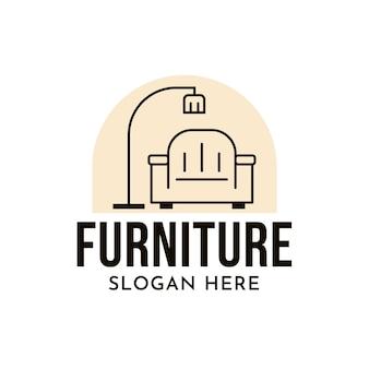 Logotipo de muebles minimalistas con sillón y lámpara.
