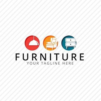 Logotipo de muebles con muebles.