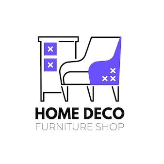 Logotipo de muebles con plantilla de elementos minimalistas.