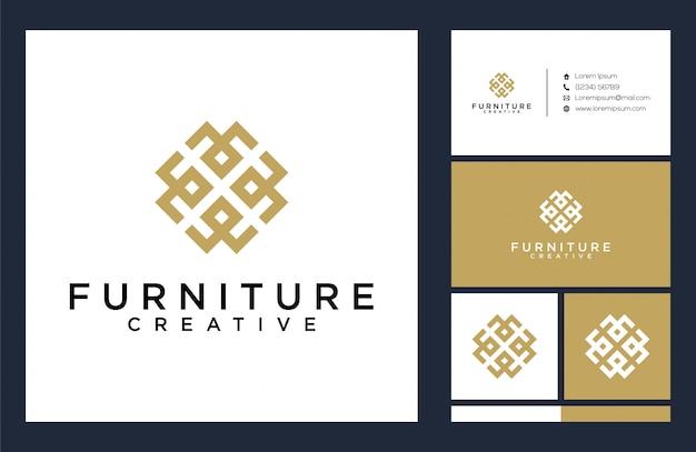 Logotipo de muebles y plantilla de tarjeta de visita