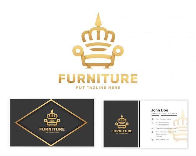 Logotipo de muebles rey con tarjeta de visita de papelería