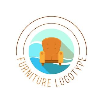 Logotipo de muebles con sillón