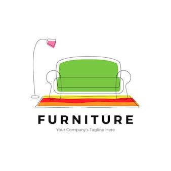 Logotipo de muebles con sofá y lámpara.
