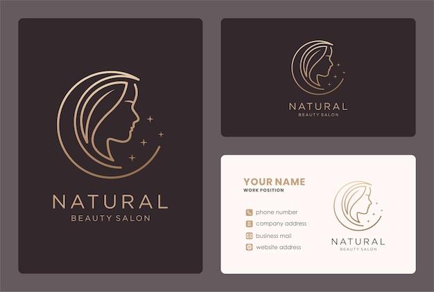 Logotipo de mujer de belleza de arte lineal con diseño de tarjeta de visita.