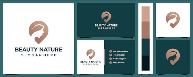 Logotipo de mujer de belleza natural con plantilla de tarjeta de visita