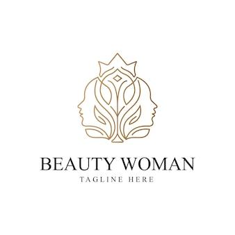 Logotipo de mujer de belleza con plantilla de diseño de arte lineal