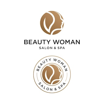 Logotipo de mujer de belleza con plantilla de diseño de emblema