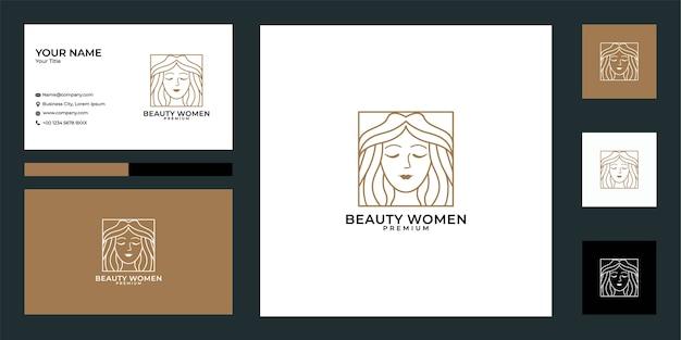 Logotipo de mujer de belleza y tarjeta de visita, se puede utilizar para peluquería, peinado, moda y cosmética.