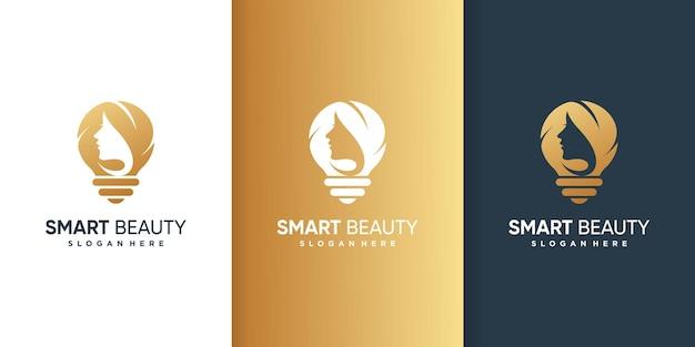 Logotipo de mujer con concepto inteligente dorado