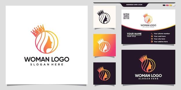 Logotipo de mujer y corona con estilo de arte lineal y diseño de tarjeta de visita vector premium