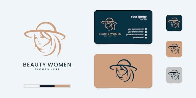 Logotipo de mujer elegante con tarjeta de visita para salón, peluquero, cambio de imagen, cuidado de la belleza.